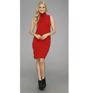🆕 CALVIN KLEIN | Red Side-Ruched Dress